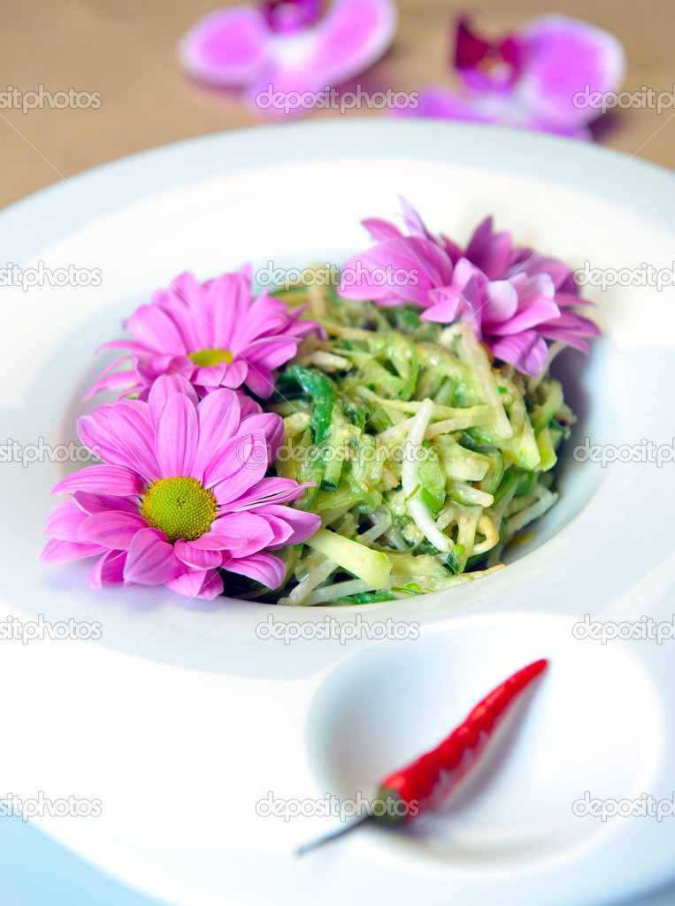 Salad of soy sprouts with algae on a plate — Stock Photo #7927300