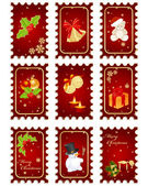 Stamps with Christmas elements — Stock Vector