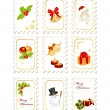 Stock Vector: Stamps with Christmas elements