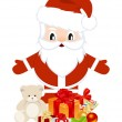Santa with christmas gifts — Stock Vector