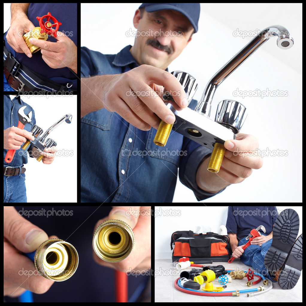 Plumber with tools and details. Worker — Stock Photo #6910546