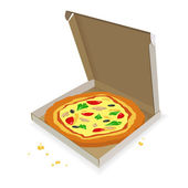 Pizza in a cardboard box — Stock Vector