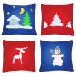 Four christmas pillows — Stock Vector