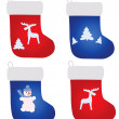 Four christmas footwears - Stockvectorbeeld