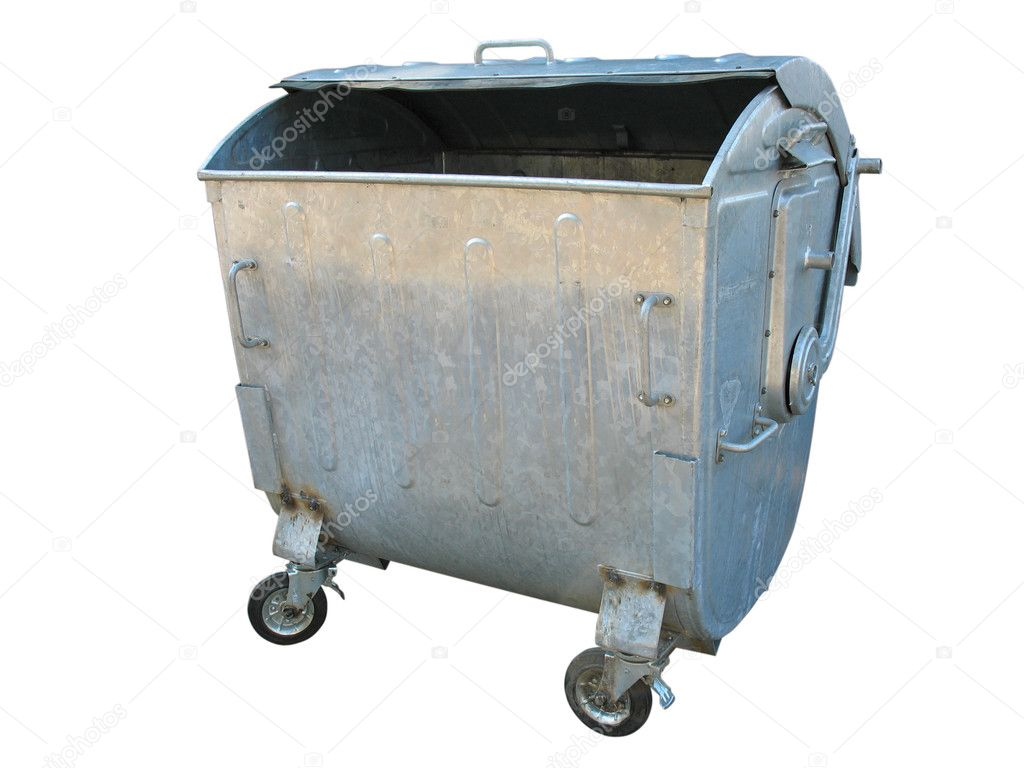 Old metal garbage trash container isolated on white background — Stock Photo #6841770