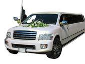 White wedding limousine isolated on white — Stock Photo