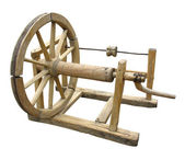 Old wooden spinning-wheel distaff isolated — Stock Photo