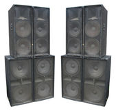 Old powerful stage concerto audio speakers isolated — Stock Photo
