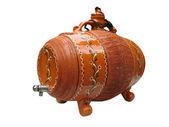 Clay wine decorative barrel isolated over white — Stock Photo