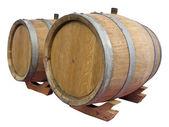 Vintage old wooden barrel isolated over white — Stok fotoğraf
