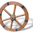 Antique Cart Wheel made of wood and iron-lined, isolated — Stock Photo #7803671
