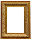 Vintage antique gold picture frame over white — Stock Photo