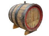 Vintage old wooden barrel isolated over white — Stock Photo
