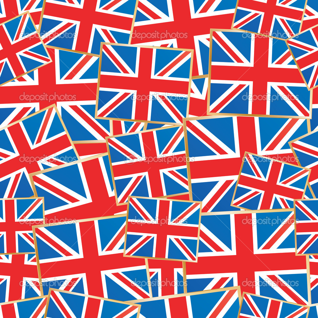 Seamless pattern of great britain flags with clipping path  Stock Vector #6987998