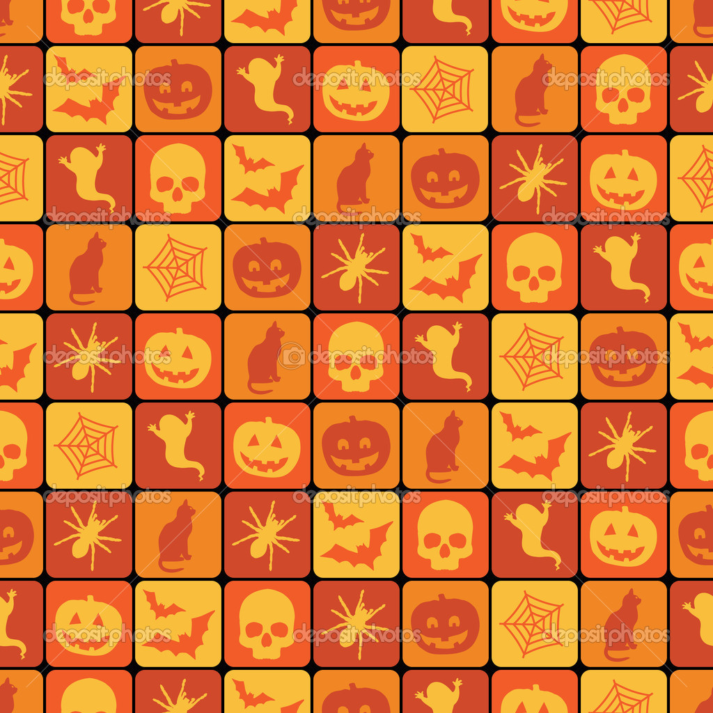 Seamless orange halloween pattern with clipping path — Stock Vector #7035124