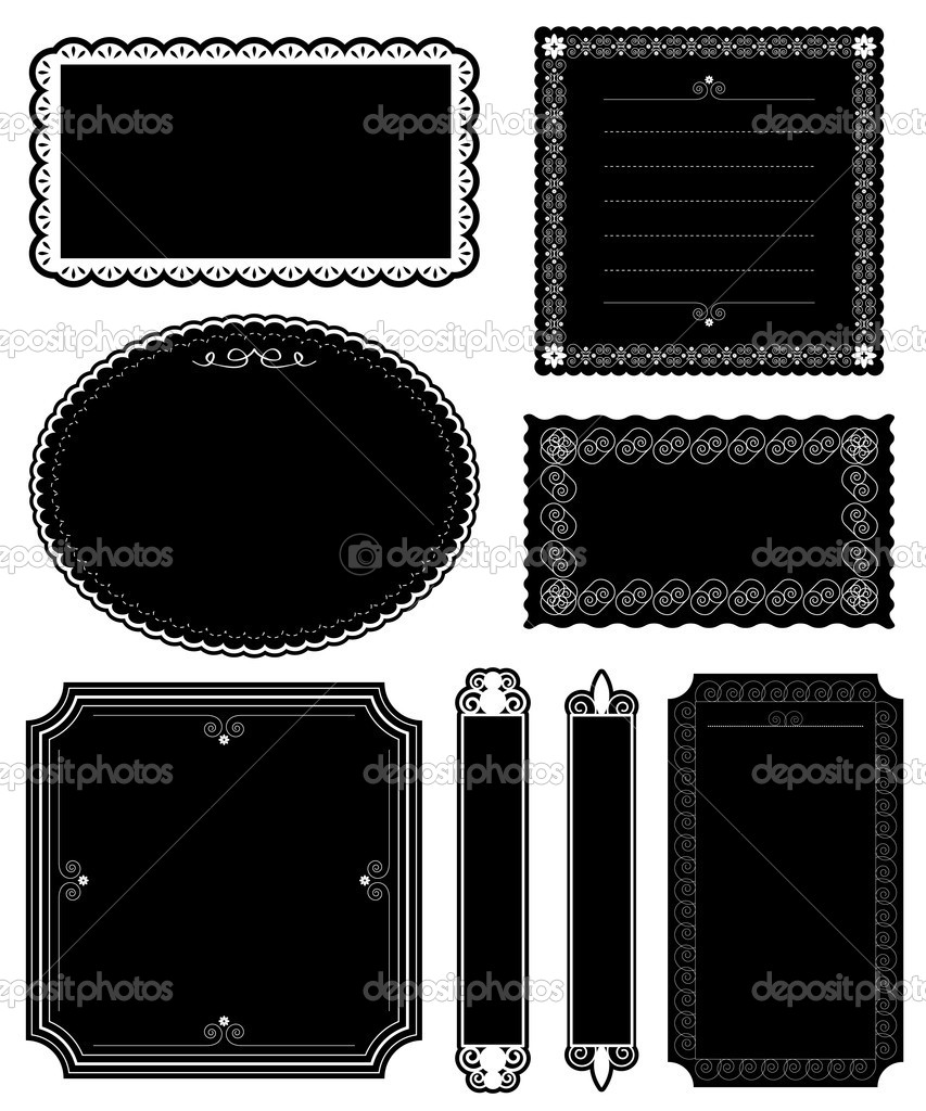 Decorative black ornate blank frames isolated on white — Stock Vector #7156649