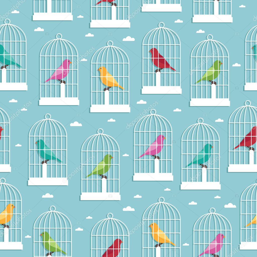Seamless pattern of birdcages and birds, with clipping path — Stock Vector #7309390
