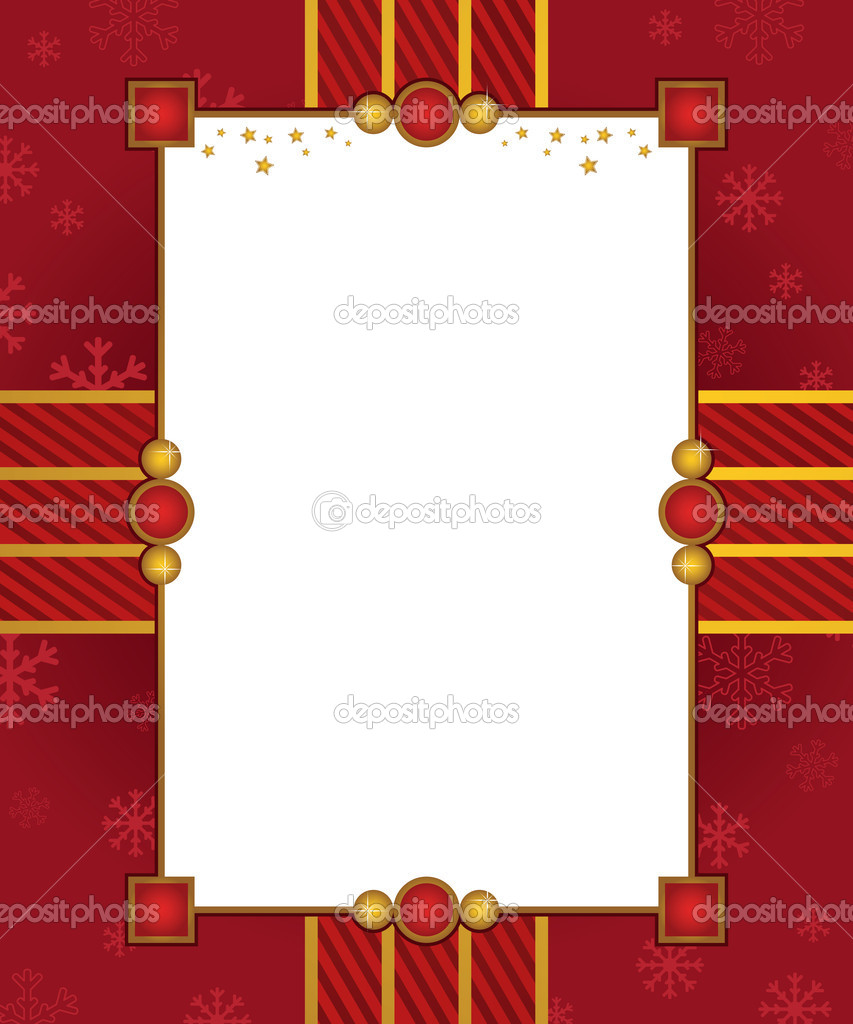 Red and gold christmas frame with copy space — Stock Vector #7337319
