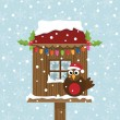 Christmas birdhouse — Stock Vector