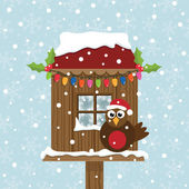 Christmas birdhouse — Vecteur