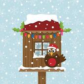 Weihnachten-vogelhaus — Stockvektor