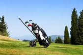 Golf bag on fairway — Stock Photo