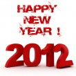 3d - 2012, Happy New Year ! — Foto Stock