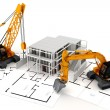 Foto Stock: 3d render of construction concept, on white