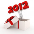 3d shiny 2012 popping out from a gift box — Stock Photo #7126806