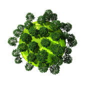 3d planète verte pleine d'arbres, concept — Photo
