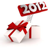 3d shiny 2012 popping out from a gift box — Stock Photo