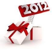 3d блестящие 2012 появляются вне от подарочной коробке — Стоковое фото