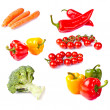 Fresh healthy vegetables on white background — Stock Photo