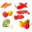Stock Photo: Fresh healthy vegetables on white background