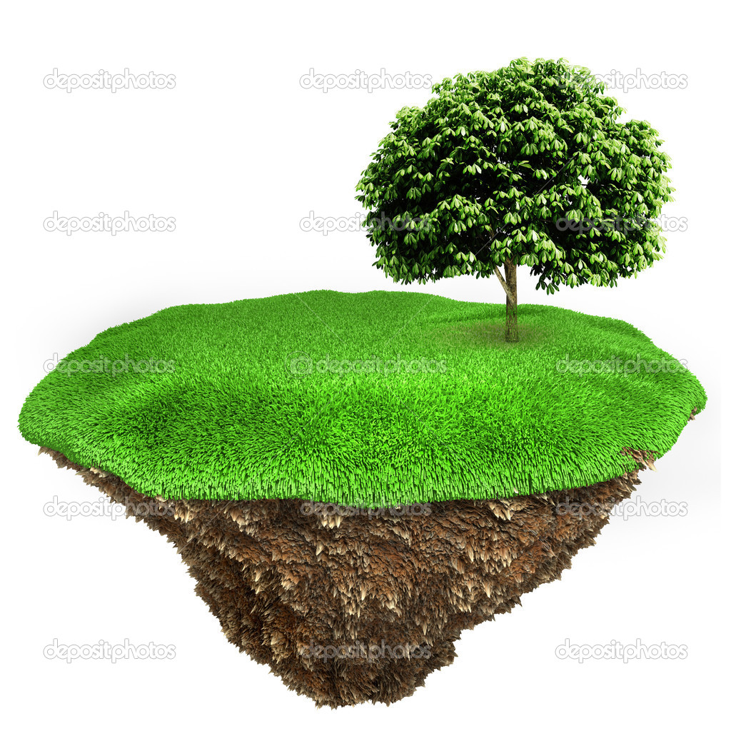 3d little piece of land with fresh green grass on white background — Stock Photo #7877438