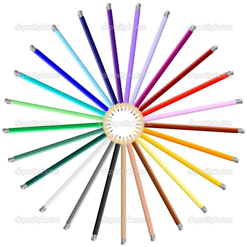 Set of Colorful Art Pencils — Stock Vector #6838608