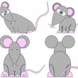 Set of Cute Crazy Cartoon Mice — Stock Vector