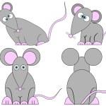 Set of Cute Crazy Cartoon Mice — Stock Vector #6906796