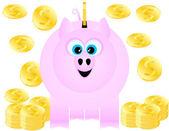 Een spaarvarken gelukkig ontvangt gouden munten — Stockvector