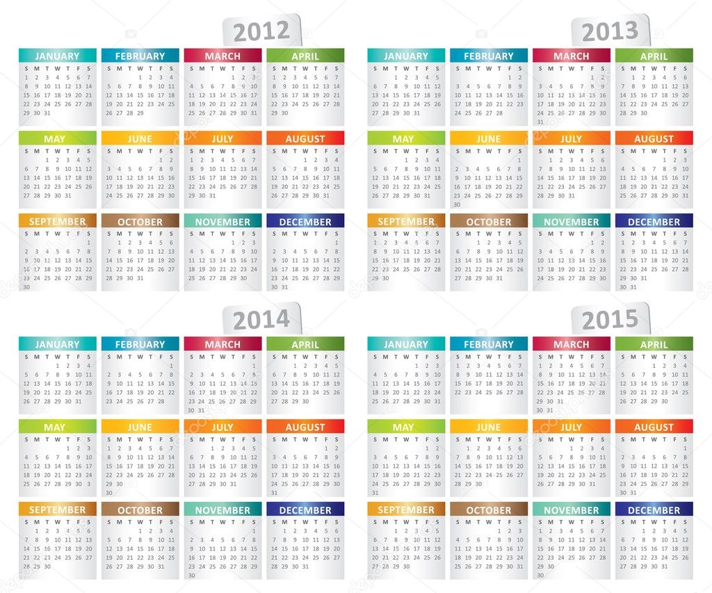 Simple calendar for 2012, 2013, 2014, 2015 year — Stock Vector #7868870