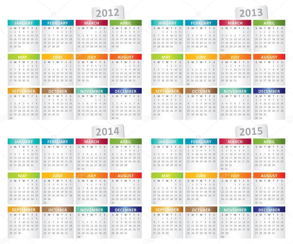 Illustration For Calendar : Calendar for year — stock vector