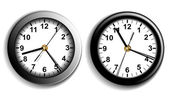 Dos relojes de pared — Vector de stock