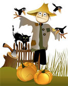 Halloween scarecrow — Stock Vector