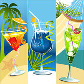 Three banners with drinks — Stock Vector