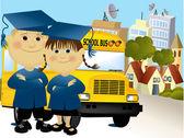 Road to school — Stock Vector