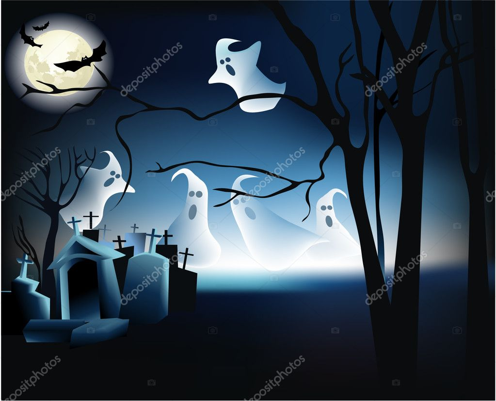 Vector Halloween background with ghosts — Stock Vector #6750147
