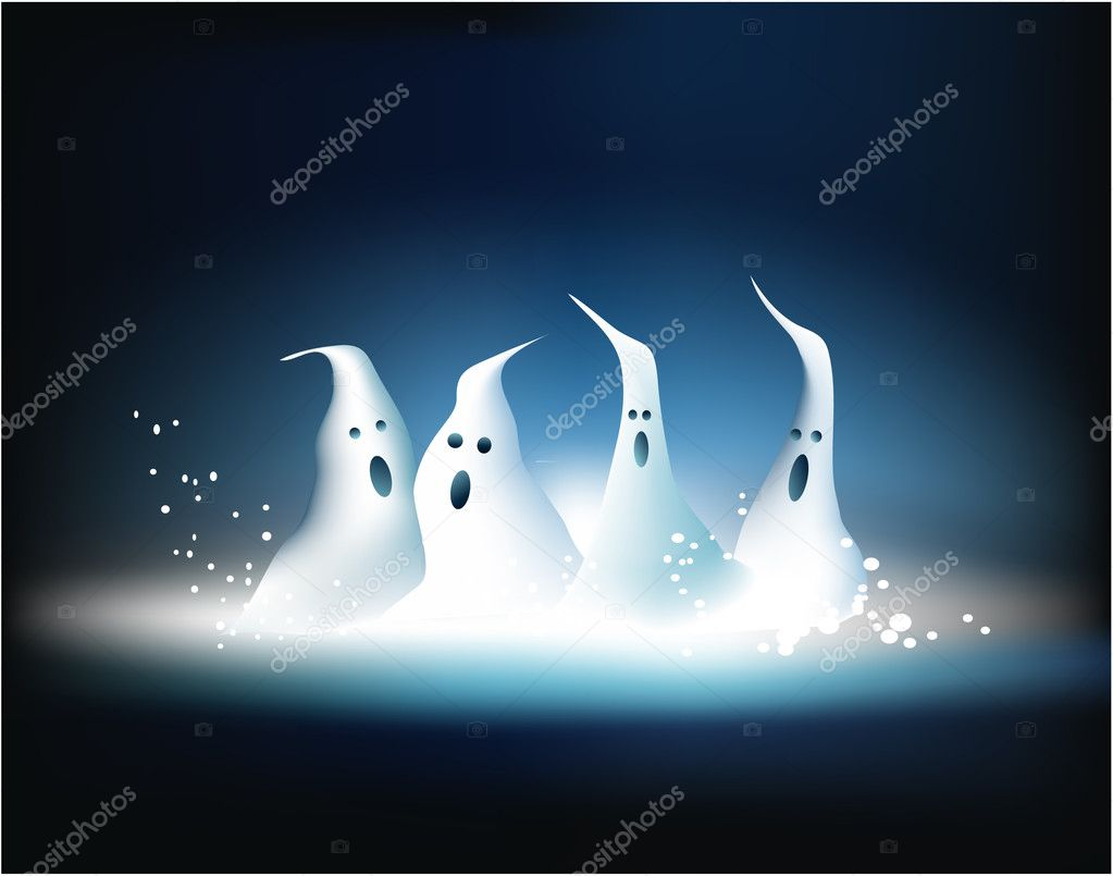 Vector Halloween background with ghosts — Stock Vector #6750149