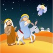 Christmas scene with holy family — Stock Vector #6770567