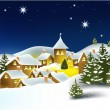 Christmas winter town - Stock Vector