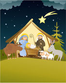 Christmas nativity scene — Vecteur